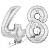 Zahl 48, Silber, Luftballons aus Folie zum 48. Geburtstag, 100 cm, inklusive Helium