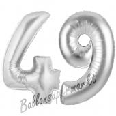Zahl 49, Silber, Luftballons aus Folie zum 49. Geburtstag, 100 cm, inklusive Helium