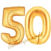 Zahl 50, Gold, Luftballons aus Folie zum 50. Geburtstag