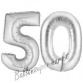 Zahl 50, Silber, Luftballons aus Folie zum 50. Geburtstag
