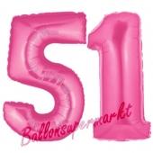 Zahl 51, Pink, Luftballons aus Folie zum 51. Geburtstag, 100 cm, inklusive Helium