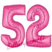 Zahl 52, Pink, Luftballons aus Folie zum 52. Geburtstag, 100 cm, inklusive Helium
