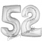 Zahl 52, Silber, Luftballons aus Folie zum 52. Geburtstag, 100 cm, inklusive Helium
