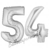 Zahl 54, Silber, Luftballons aus Folie zum 54. Geburtstag, 100 cm, inklusive Helium