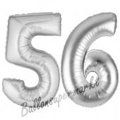 Zahl 56, Silber, Luftballons aus Folie zum 56. Geburtstag, 100 cm, inklusive Helium