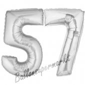 Zahl 57, Silber, Luftballons aus Folie zum 57. Geburtstag, 100 cm, inklusive Helium