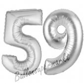 Zahl 59, Silber, Luftballons aus Folie zum 59. Geburtstag, 100 cm, inklusive Helium