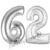 Zahl 62, Silber, Luftballons aus Folie zum 62. Geburtstag, 100 cm, inklusive Helium