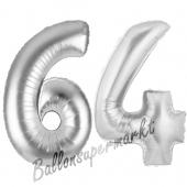 Zahl 64, Silber, Luftballons aus Folie zum 64. Geburtstag, 100 cm, inklusive Helium