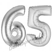 Zahl 65, Silber, Luftballons aus Folie zum 65. Geburtstag, 100 cm, inklusive Helium