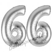Zahl 66, Silber, Luftballons aus Folie zum 66. Geburtstag, 100 cm, inklusive Helium