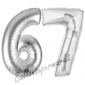 Zahl 67, Silber, Luftballons aus Folie zum 67. Geburtstag, 100 cm, inklusive Helium