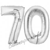 Zahl 70, Silber, Luftballons aus Folie zum 70. Geburtstag