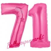Zahl 71, Pink, Luftballons aus Folie zum 71. Geburtstag, 100 cm, inklusive Helium