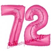 Zahl 72, Pink, Luftballons aus Folie zum 72. Geburtstag, 100 cm, inklusive Helium