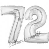Zahl 72, Silber, Luftballons aus Folie zum 72. Geburtstag, 100 cm, inklusive Helium