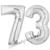 Zahl 73, Silber, Luftballons aus Folie zum 73. Geburtstag, 100 cm, inklusive Helium