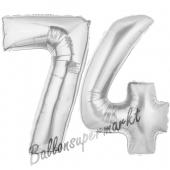 Zahl 74, Silber, Luftballons aus Folie zum 74 Geburtstag, 100 cm, inklusive Helium