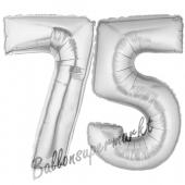Zahl 75, Silber, Luftballons aus Folie zum 75 Geburtstag, 100 cm, inklusive Helium
