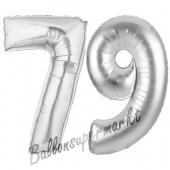 Zahl 79 Silber, Luftballons aus Folie zum 79. Geburtstag, 100 cm, inklusive Helium
