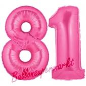 Zahl 81, Pink, Luftballons aus Folie zum 81. Geburtstag, 100 cm, inklusive Helium