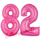 Zahl 82, Pink, Luftballons aus Folie zum 82. Geburtstag, 100 cm, inklusive Helium