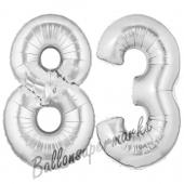 Zahl 83 Silber, Luftballons aus Folie zum 83. Geburtstag, 100 cm, inklusive Helium