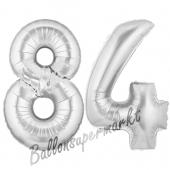 Zahl 84 Silber, Luftballons aus Folie zum 84. Geburtstag, 100 cm, inklusive Helium
