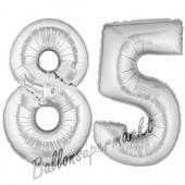 Zahl 85 Silber, Luftballons aus Folie zum 85. Geburtstag, 100 cm, inklusive Helium