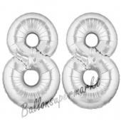 Zahl 88 Silber, Luftballons aus Folie zum 88. Geburtstag, 100 cm, inklusive Helium