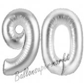 Zahl 90, Silber, Luftballons aus Folie zum 90. Geburtstag