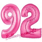 Zahl 92, Pink, Luftballons aus Folie zum 92. Geburtstag, 100 cm, inklusive Helium