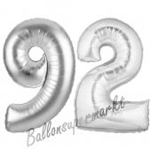 Zahl 92 Silber, Luftballons aus Folie zum 92. Geburtstag, 100 cm, inklusive Helium