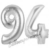 Zahl 94 Silber, Luftballons aus Folie zum 94. Geburtstag, 100 cm, inklusive Helium