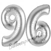 Zahl 96 Silber, Luftballons aus Folie zum 96. Geburtstag, 100 cm, inklusive Helium