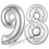 Zahl 98 Silber, Luftballons aus Folie zum 98. Geburtstag, 100 cm, inklusive Helium