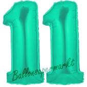 Zahl 11, Aquamarin, Luftballons aus Folie zum 11. Geburtstag, 100 cm, inklusive Helium