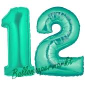 Zahl 12, Aquamarin, Luftballons aus Folie zum 12. Geburtstag, 100 cm, inklusive Helium
