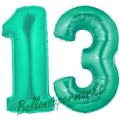 Zahl 13, Aquamarin, Luftballons aus Folie zum 13. Geburtstag, 100 cm, inklusive Helium