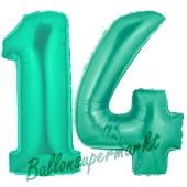Zahl 14, Aquamarin, Luftballons aus Folie zum 14. Geburtstag, 100 cm, inklusive Helium
