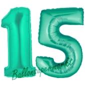 Zahl 15, Aquamarin, Luftballons aus Folie zum 15. Geburtstag, 100 cm, inklusive Helium