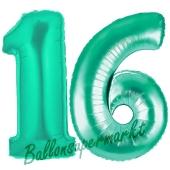 Zahl 16, Aquamarin, Luftballons aus Folie zum 16. Geburtstag, 100 cm, inklusive Helium