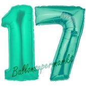 Zahl 17, Aquamarin, Luftballons aus Folie zum 17. Geburtstag, 100 cm, inklusive Helium