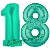 Zahl 18, Aquamarin, Luftballons aus Folie zum 18. Geburtstag, 100 cm, inklusive Helium