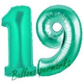Zahl 19, Aquamarin, Luftballons aus Folie zum 19. Geburtstag, 100 cm, inklusive Helium
