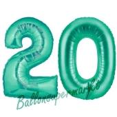 Zahl 20, Aquamarin, Luftballons aus Folie zum 20. Geburtstag, 100 cm, inklusive Helium