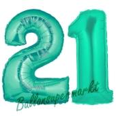 Zahl 21, Aquamarin, Luftballons aus Folie zum 21. Geburtstag, 100 cm, inklusive Helium