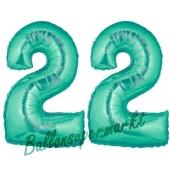 Zahl 22, Aquamarin, Luftballons aus Folie zum 22. Geburtstag, 100 cm, inklusive Helium