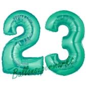 Zahl 23, Aquamarin, Luftballons aus Folie zum 23. Geburtstag, 100 cm, inklusive Helium