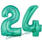 Zahl 24, Aquamarin, Luftballons aus Folie zum 24. Geburtstag, 100 cm, inklusive Helium